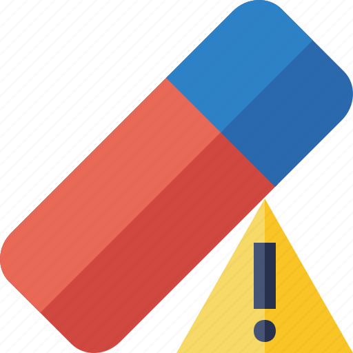 clean, delete, erase, eraser, remove, rubber, warning icon