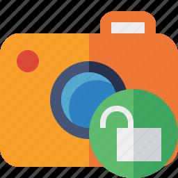 camera, photo, photocamera, photography, picture, snapshot, unlock icon