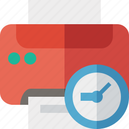 clock, document, paper, print, printer, printing icon
