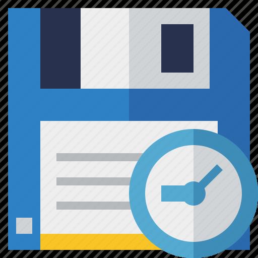 backup, clock, data, disk, download, file, guardar, save icon