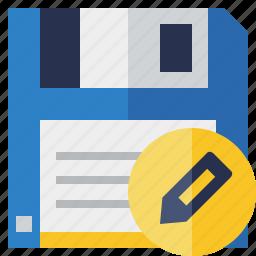 backup, data, disk, download, edit, file, guardar, save icon