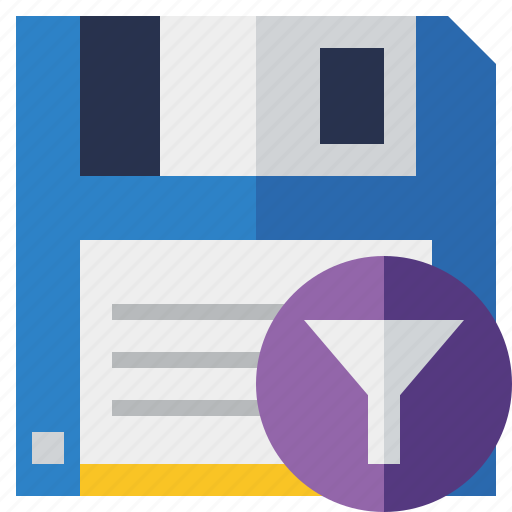 backup, data, disk, download, file, filter, save icon