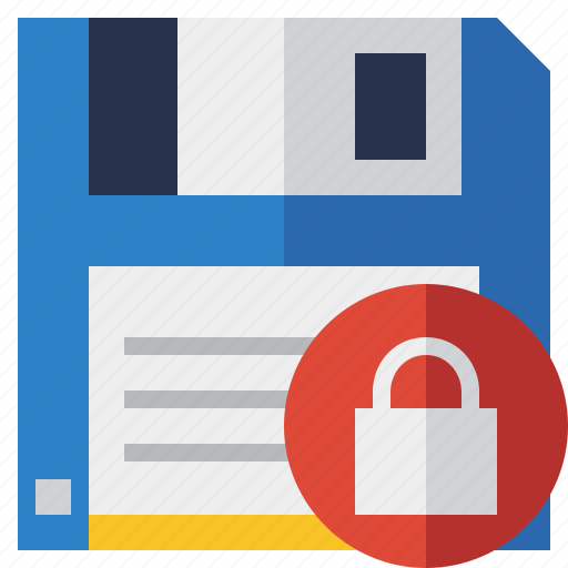 backup, data, disk, download, file, lock, save icon