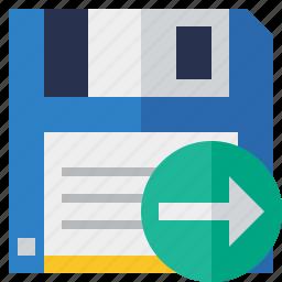 backup, data, disk, download, file, guardar, next, save icon
