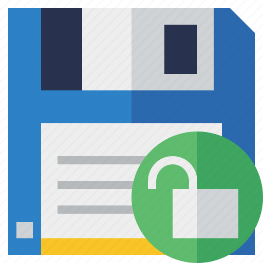 backup, data, disk, download, file, guardar, save, unlock icon