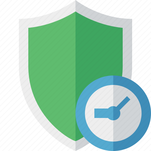 clock, protection, safety, secure, security, shield icon