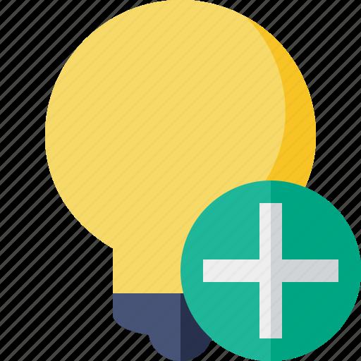 add, bulb, idea, light, tip icon