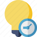 bulb, clock, idea, light, tip icon