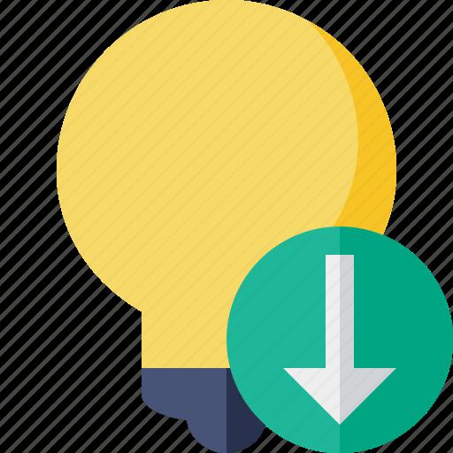 bulb, download, idea, light, tip icon