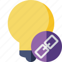 bulb, idea, light, link, tip icon