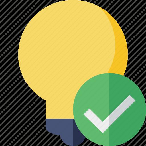bulb, idea, light, ok, tip icon