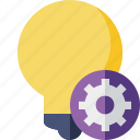 bulb, idea, light, settings, tip icon