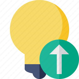 bulb, idea, light, tip, upload icon