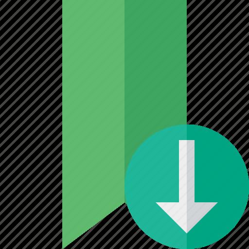 book, bookmark, download, favorite, green, tag icon