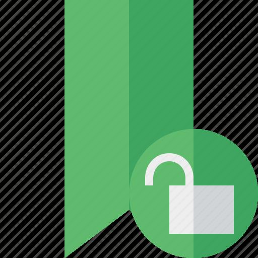 book, bookmark, favorite, green, tag, unlock icon