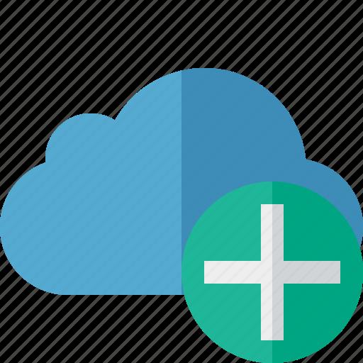 add, blue, cloud, network, storage, weather icon