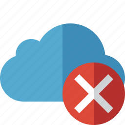 blue, cancel, cloud, network, storage, weather icon