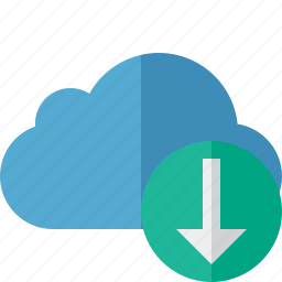 blue, cloud, download, network, storage, weather icon