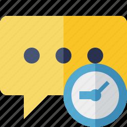 bubble, chat, clock, comment, message, talk icon