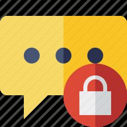 bubble, chat, comment, lock, message, talk icon