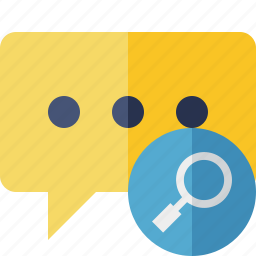 bubble, chat, comment, message, search, talk icon