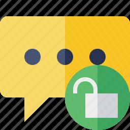 bubble, chat, comment, message, talk, unlock icon