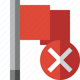 cancel, flag, location, marker, pin, point, red icon
