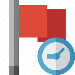 clock, flag, location, marker, pin, point, red icon