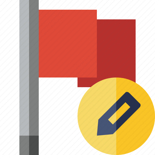 Edit, flag, location, marker, pin, point, red icon - Download on Iconfinder
