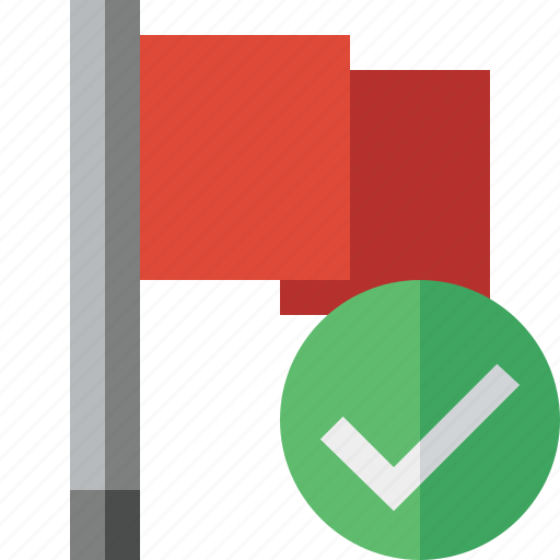 Flag, location, marker, ok, pin, point, red icon - Download on Iconfinder