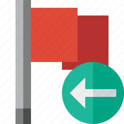 flag, location, marker, pin, point, previous, red icon