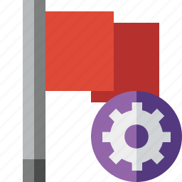 flag, location, marker, pin, point, red, settings icon