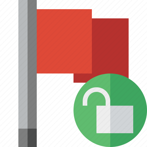 flag, location, marker, pin, point, red, unlock icon