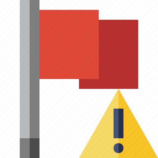 flag, location, marker, pin, point, red, warning icon