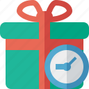 box, christmas, clock, gift, present, xmas icon