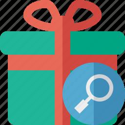 box, christmas, gift, present, search, xmas icon
