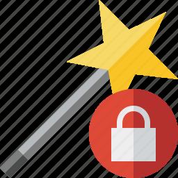 lock, magic, tool, wand, wizard icon