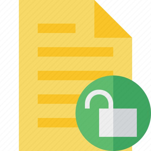document, file, page, text, unlock icon