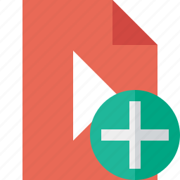 add, document, file, movie, play, video icon