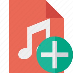 add, audio, document, file, music icon