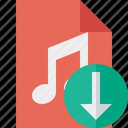 audio, document, download, file, music icon