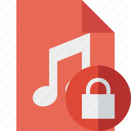 audio, document, file, lock, music icon