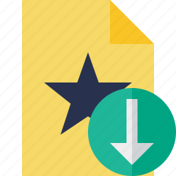 document, download, favorite, file, star icon