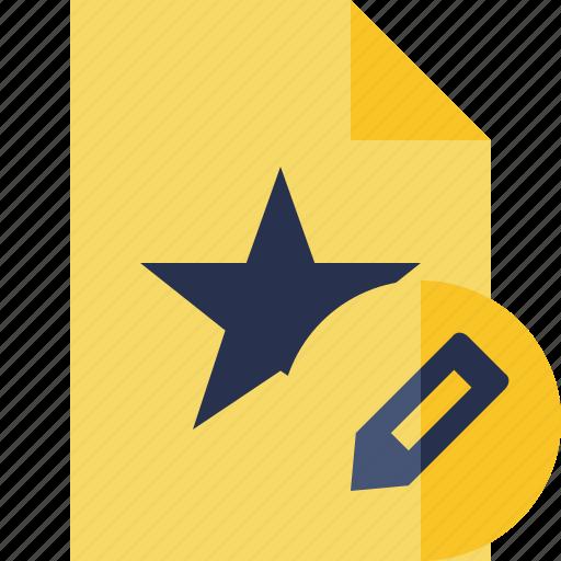 document, edit, favorite, file, star icon