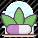 herbal medication, herbal medicine, herbal pill, pharmaceutical, remedy icon