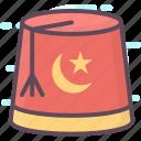apparel, fez hat, headgear, headwear, turkish cap icon