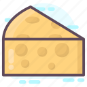 cheese, dairy product, food item, piece, slice icon