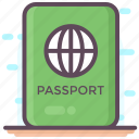 passport, travel, travel pass, travel permit, visa icon