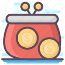 cash pouch, dollar purse, money bag, money pouch, money purse icon