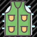 apparel, fishing jacket, jacket, sleeveless coat, waterproof jacket icon